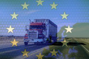LKW in EU Flagge